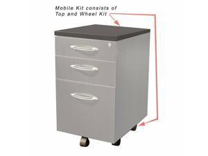 Mayline Aberdeen 3 Drawer Steel Mobile Kit in Gray Steel Laminate