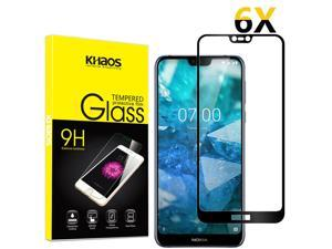 6-Pack Khaos For Nokia 7.1 Full Cover Tempered Glass Screen Protector -Black