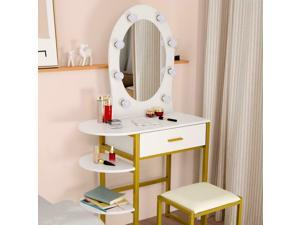 Vanity Set with 9lED Mirror Dressing Makeup Table w/ Shelves Storage and Drawers