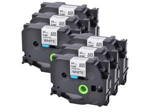 6PK Black on White TZ-251 for Brother Label Tape TZe-251 P Touch PT-E500 24MM
