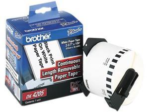 """Brother DK4205 Removable Paper Label Tape, 2.4"""" x 100 ft. Roll, White"""