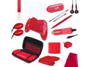 NEW Red 20 in 1 Essentials Starter Kit Case Stylus for the OLD Nintendo 3DS