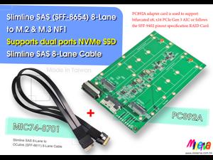 PC892A - Slimilne SAS (SFF-8654) 8-Lane to M.3 NF1 SSD dual ports Adapter to Slimline SAS 8-Lane to OCulink 8-Lane Cable KIT
