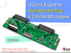 PD806A - OCulink 8i (SFF-8612 8-Lane) to dual ports Hot Plug U.2 NVMe SSD Adapter for Intel TriMode RSP3MD088F