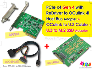 PCIe x4 Gen4 with ReDriver to OCulink 4i Host Bus Adapter & Gen4 OCulink to U.3 Cable & U.3/Gen-Z PCIe Gen 4 to M.2 Adapter KIT