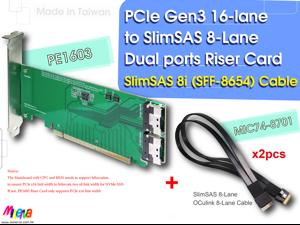 PCIe x16 Gen3 to SlimSAS (SFF-8654) Dual ports Riser Card with SlimSAS 8-Lane to OCulink 8-Lane Cable x2pcs KIT