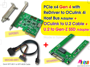 PCIe x4 Gen4 with ReDriver to OCulink 4i Host Bus Adapter & Gen4 OCulink 4i to U.2 Cable & U.2 (SFF-8639) PCIe 4.0 to Gen-Z 1C (EDSFF) Adapter KIT