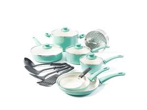 greenlife soft grip 16pc ceramic nonstick cookware set, turquoise