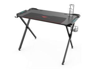 Eureka Ergonomic X1-S Gaming Computer Desk with Led Lights, Large Carbon Fiber Surface Cup Holder and Headphone Hook - Black