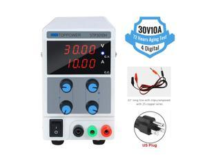 30V 10A DC Bench  Power Supply Variable, 4 Digital Adjustable Switching Regulated Power Supply Digital, with Alligator Leads US Power Cord for Spectrophotometer and lab Equipment Repair