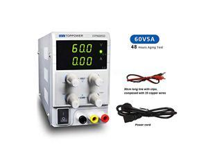 DC Power Supply Variable 60V 5A-3 Digital (Upgraded Version),Adjustable Switching Regulated Digital Alligator Leads with US Power Cord for lab Equipment Repair