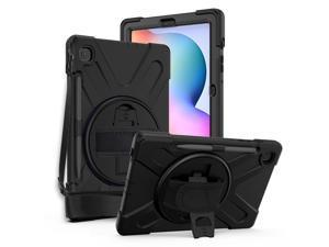 Galaxy Tab S6 LITE 10.4 P610 Case Cover, Heavy Duty Shield, Kickstand, Handstrap, Carrying Shoulderstrap Sling For Samsung Galaxy Tab S6 Lite 10.4 P610 [Black]