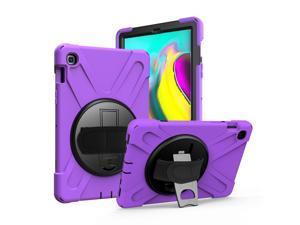 Galaxy Tab A 10.1 Case, Fits 2019 T510/T515 Shockproof Heavy Duty Shield Case Kickstand, Shoulder Strap Sling, Hand/Palm Strap For Samsung Galaxy Tab A 10.1 (2019) SM-T510 / SM-T515 (Purple)