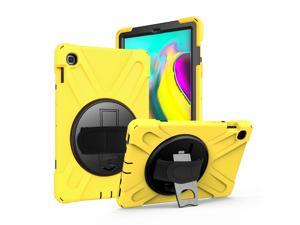 Galaxy Tab A 10.1 Case, Fits T510/T515 2019, Shockproof Heavy Duty, Tempered Glass Screen Protector, Handstrap, Kickstand, Shoulderstrap Sling, For Samsung Galaxy Tab A 10.1 SM-T510 (Yellow)