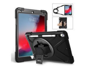 KIQ Heavy Duty Military Durability Shield Case, Tablet Cover, Kickstand, Shoulder Strap, Kickstand,, Palmstrap, Dual-Layer Protection For Apple iPad Pro 10.5 & iPad Air 10.5 (3rd Gen) (Black)