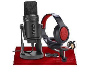 Samson G-Track Pro USB Microphone W/Audio Interface + Samson SR360 Over-Ear Dynamic Stereo Headphones, Xpix Headphone Hanger & Fibertique Microfiber Cleaning Cloth