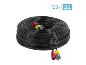 Amcrest 4K Security Camera Cable 100FT BNC Cable, Camera Wire CCTV, Pre-Made All-in-One Video and Power Cable for Security Camera, HDCVI, HDTVI Camera, Analog, DVR (SCABLE4K100B-PP)