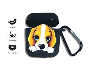 Cute Airpods Case Protective Silicone Cover and Skin- Shockproof- Kawaii- with Keychain Clip for Apple AirPods Unisex. (Brown/Beagle)