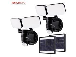 TORCHSTAR LED Solar Motion Sensor Light, Dual-Head Adjustable Heads Security Floodlight, Auto Mode & ON-OFF Mode, for Garages, Porches, Yards, Warehouses, Pack of 2
