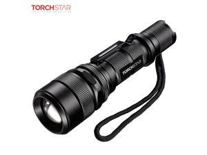 TORCHSTAR LED Strategic Flashlight with 5 Modes, USB Charging, Outdoor Torch with 5 Modes, IP65 Waterproof, Portable & Handheld Flashlight for Emergency, Camping, Hiking