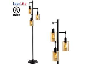 LEONLITE 40W Amber Glass Track Tree Floor Lamp with 3 Bulbs, 3-Head Retro Industrial Style Torchiere Lamp Fixture, UL Listed, 2-Year Warranty, for Living Room, Study, Office, Bedroom