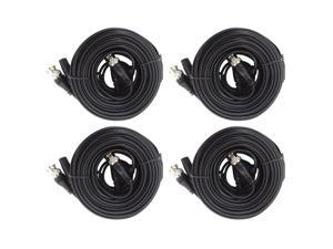TIGERSECU 4 Pack 60-Feet (18 Meters) HD Video and Power BNC Extension Cables for Security Camera and Surveillance Systems (4-Pack, Black)
