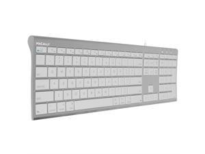 Macally Ultra-Slim USB Wired Computer Keyboard for Apple MacBook Pro/Air, iMac, Mac Mini, Mac Pro, Windows PC Laptops/Desktops and Notebooks   Plug and Play - No Drivers   Silver Finish (ACEKEYA)