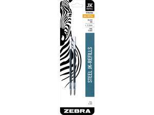 Zebra G-402 Stainless Steel Pen JK-Refill, Fine Point, 0.5mm, Black Ink, 2-Count