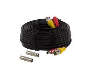 InstallerCCTV 100ft Pre-made All-in-One BNC Video and Power Cable with Connector for Surveillance CCTV Security Camera Video System - Black