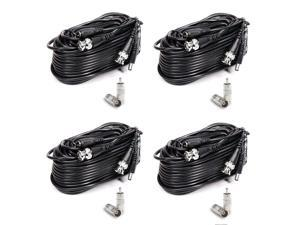 18M/60 Feet BNC Video Power Cable, Vangold Surveillance Camera Cables For CCTV Security Camera Surveillance All-in-One (Black) (4 Pack)