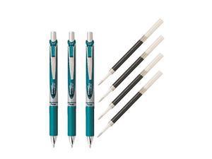 Pentel EnerGel Deluxe RTX Liquid Gel Ink Pen Set Kit, Pack of 3 with 4 Refills (Turquoise - 0.7mm) …