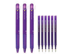 Pilot FriXion Ball Knock Retractable Erasable Gel Ink Pens, Extra Fine Point 0.5mm, Violet Ink, 3 Pens & 6 Refills Value Set