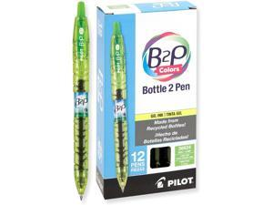Pilot B2P Colors - Bottle to Pen - Retractable Gel Roller Pens Made from Recycled Bottles, Fine, Lime Green Ink/Barrel, Dozen Box (36624)
