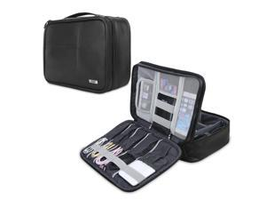 BUBM Electronic Organizer, Double Layer Electronic Bag for Cables, Plugs, External Hard Drive and Other Electronic Accessories (Large/PU Black)