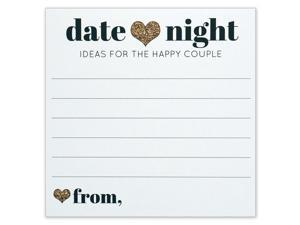 Date Night Ideas for the Happy Couple - Idea Jar Card - Wedding Advice Cards - Gold Heart - 4x4 Square - Pack of 40