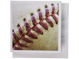 3dRose Closeup Red Seams On Baseball - Greeting Cards, 6 x 6 inches, set of 6 (gc_47841_1)
