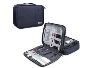 BUBM Electronic Organizer, Double Layer Electronic Bag for Cables, Plugs, External Hard Drive and Other Electronic Accessories (Medium/Dark Blue)