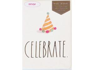 """Rae Dunn - Happy Birthday Greeting Card - """"Celebrate"""" w/ party hat image"""