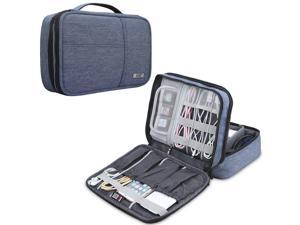 BUBM Electronic Organizer, Double Layer Electronic Bag for Cables, Plugs, External Hard Drive and Other Electronic Accessories (Medium/Denim Blue)