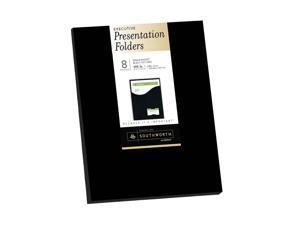"Southworth Resume Presentation Folders, 9"" x 12"", 105 lb/285 gsm, Single-Pocket, Black, Felt Finish, Cardstock, 8 Ct. (98873)"