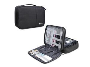 BUBM Electronic Organizer, Double Layer Electronic Bag for Cables, Plugs, External Hard Drive and Other Electronic Accessories (Medium/Black)
