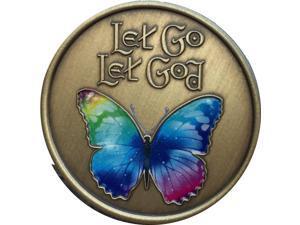 Let Go Let God Color Rainbow Butterfly Medallion Serenity Prayer Chip