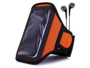 VanGoddy Orange Sweat Resistant Armband for Microsoft Lumia 550 / Lumia 950 / Lumia 950 XL/Lumia 650 Smartphone's + Black Ear Buds with Mic