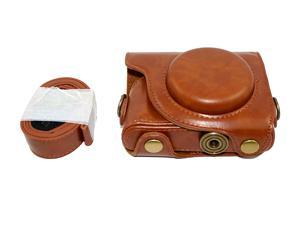 Protective PU Leather Camera Case Bag For Canon PowerShot G9X, G9 X Mark II Mark 2 with Shoulder Neck Strap Belt Brown