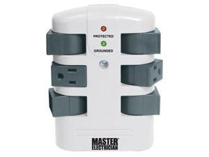 Master Electrician ME903105 6 Outlet 2160 Joule Rotating Surge Tap, White