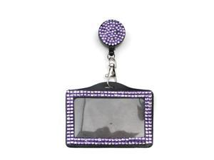 All In One Rhinestone Lanyard Bling Crystal Badge Reel + Card Holder for Business Id Card Horizontal (Purple)