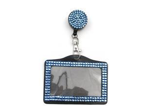 ALL in ONE Rhinestone Lanyard Bling Crystal Badge Reel + Card Holder for Business Id Card Horizontal (BLUE)
