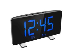 Brifit Digital Alarm Clock, 7.3 Curved LED Screen, Snooze Adjustable 6 Brightness Volume Dimmable, Simple Digital Clock for Kids and Adults, 12/24H