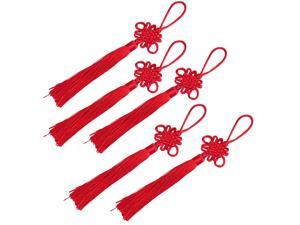 Livder 25 Pack Red Handmade Chinese Knots Fortune Tassels with Satin Silk for New Years Gifts, Spring Festival Decorations
