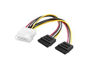 4 Pin Molex to Dual 15 Pin SATA Power Splitter Y-Cable Adapter (SATA to Molex) - 6 Inches